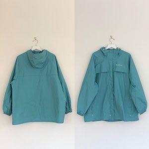Columbia Turquoise Hooded Windbreaker Raincoat